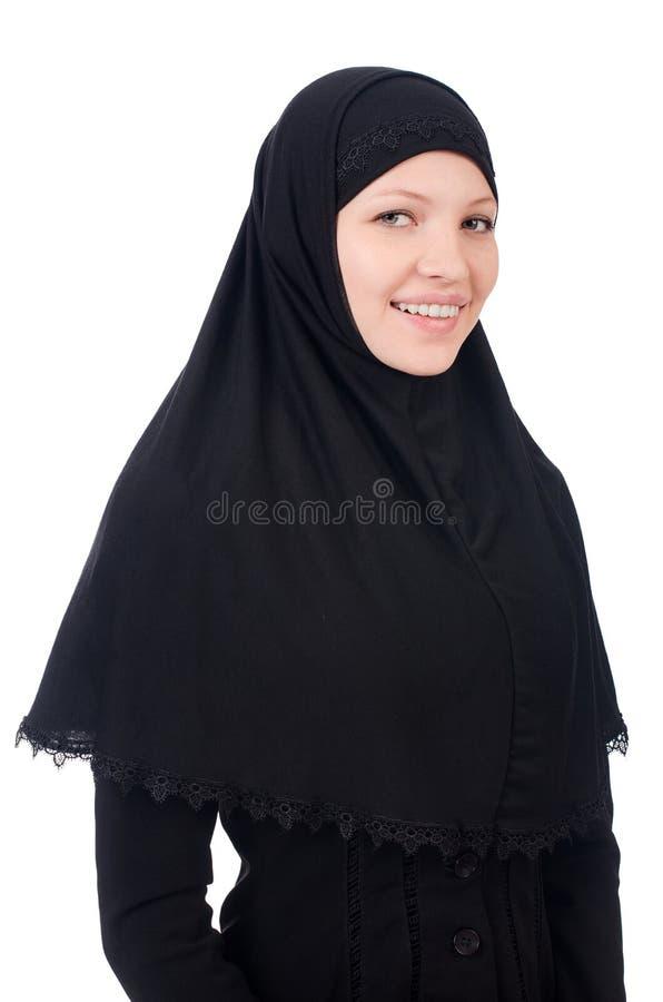 Kvinna med muslimburqa royaltyfri fotografi