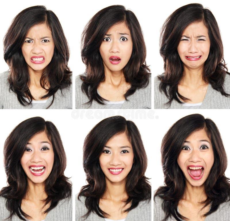 Kvinna med olikt ansiktsuttryck royaltyfri fotografi