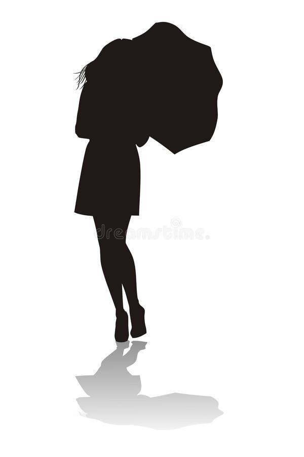 Kvinna med paraplyet vektor illustrationer
