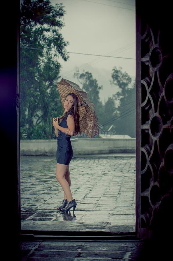 Kvinna med paraplyet i regna arkivbild