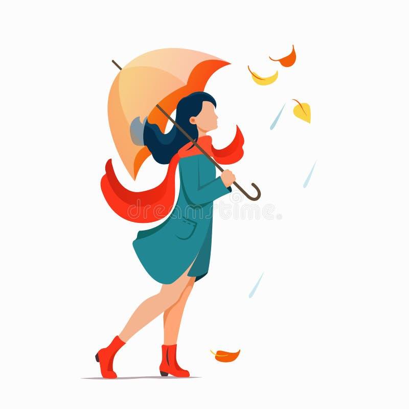 Kvinna med paraplyet som går på gatan Regnigt illustrationbegrepp för plan höst vektor stock illustrationer