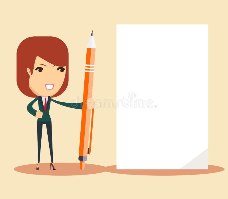 Kvinna med pennan och arket vektor illustrationer