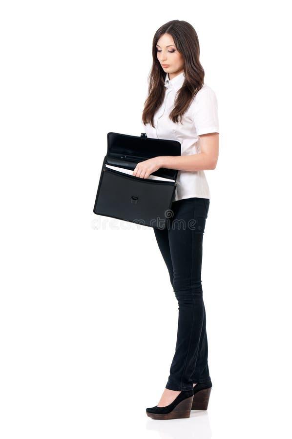 Kvinna med portföljen royaltyfria foton