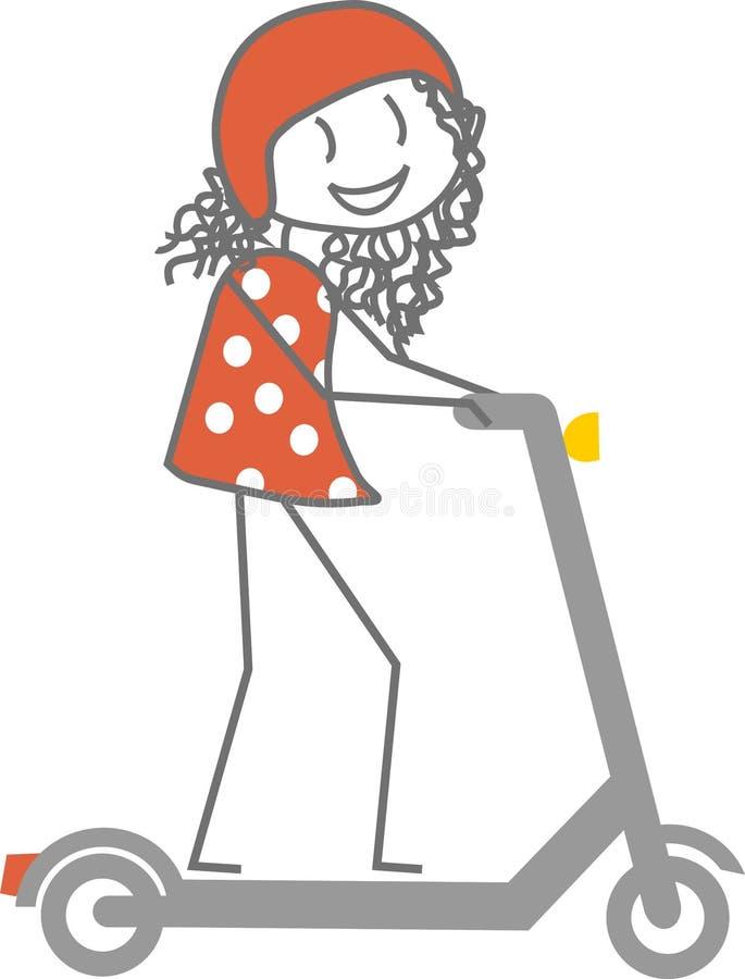 Kvinna med säkerhetsbeståndsdelar på en sparkcykel royaltyfri illustrationer