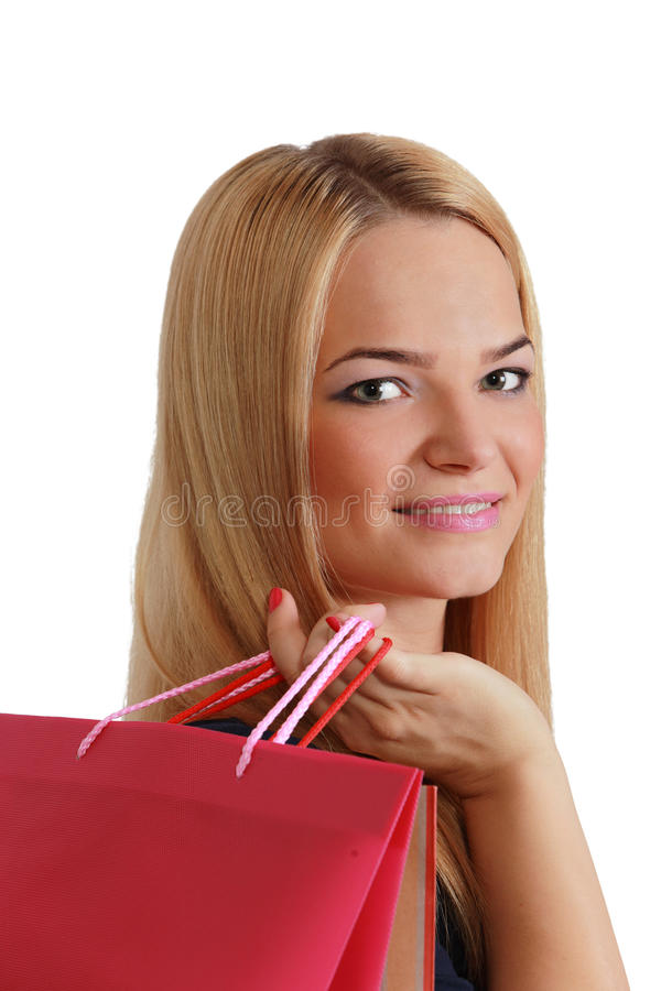 Kvinna med shoppingpåsen