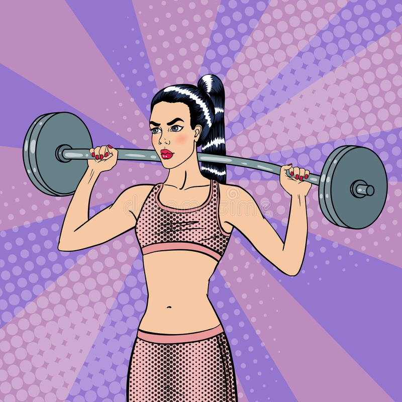 Kvinna med skivstång fit flicka Sund livsstil Popkonst vektor illustrationer