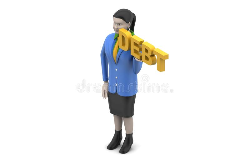 Kvinna med skuld vektor illustrationer