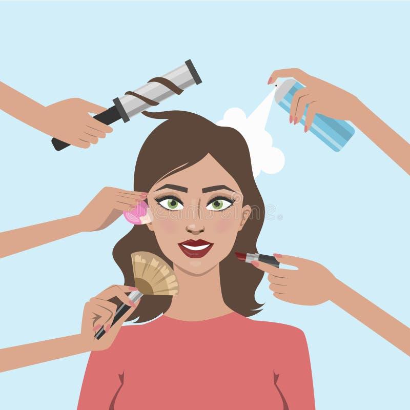 Kvinna med smink vektor illustrationer