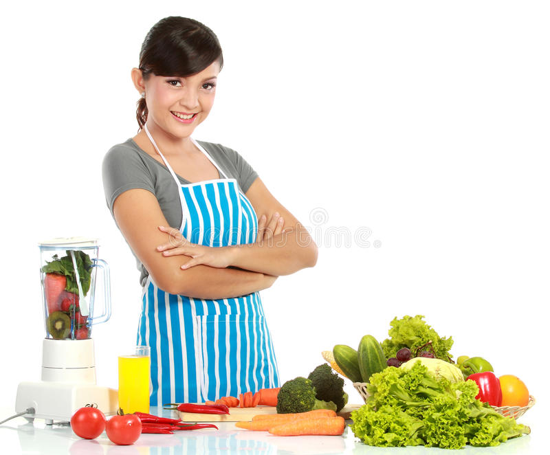 Kvinna med sund mat arkivbilder