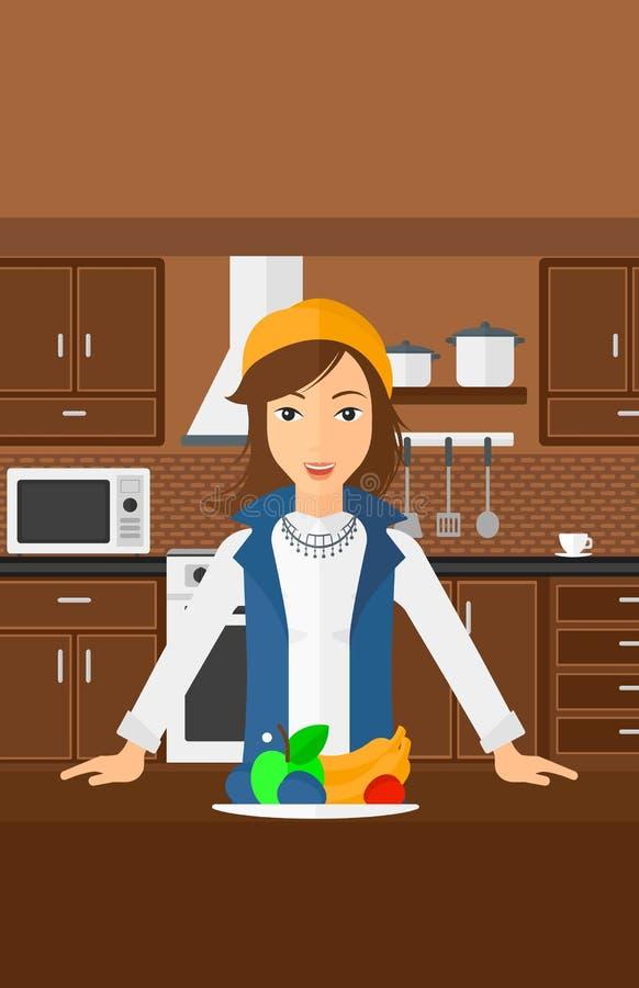 Kvinna med sund mat vektor illustrationer