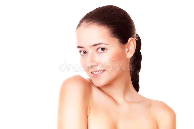 Kvinna med sund ren hud fotografering för bildbyråer