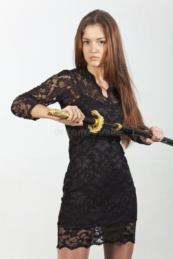 Kvinna med svärdet arkivfoton
