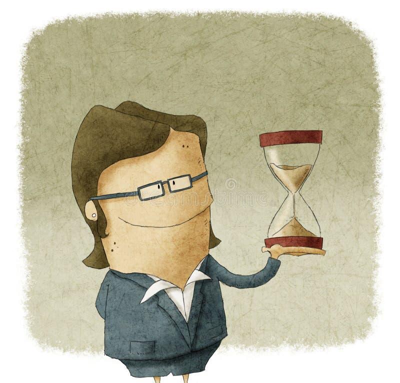 Kvinna med timglas i hand vektor illustrationer