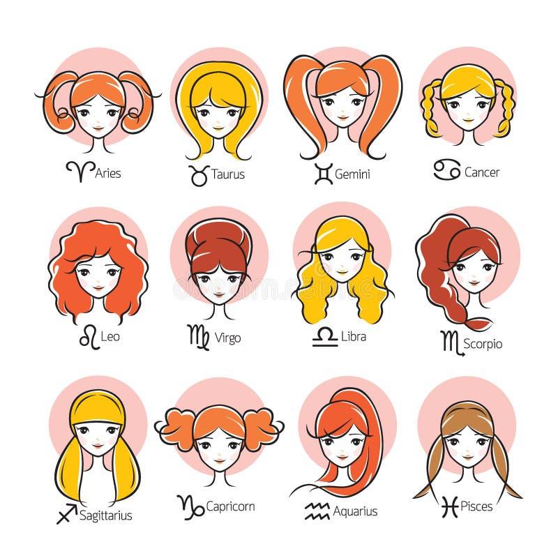 Kvinna med uppsättningen för 12 zodiakteckensymboler stock illustrationer