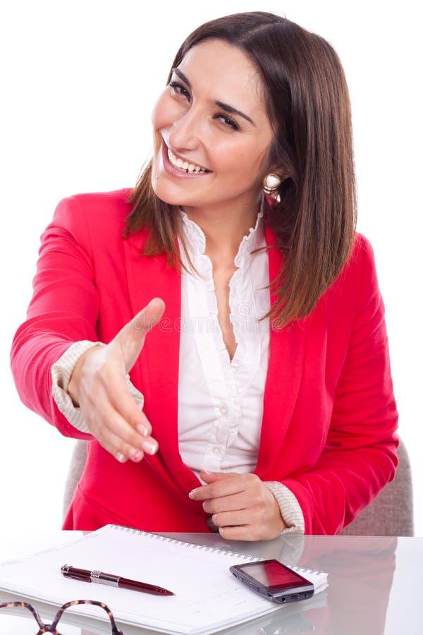 Kvinna med uttryck av förtroende och gladlynt arkivbild