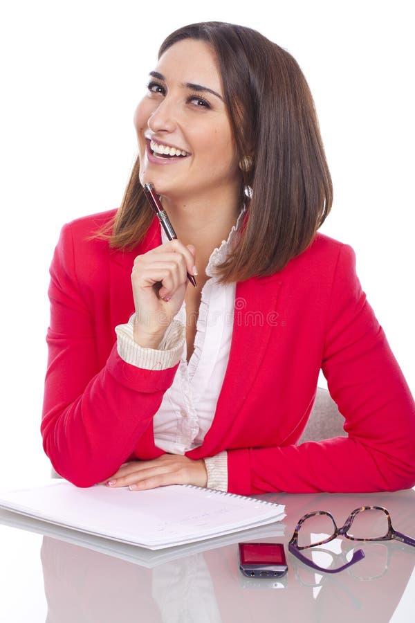Kvinna med uttryck av förtroende och gladlynt royaltyfri foto