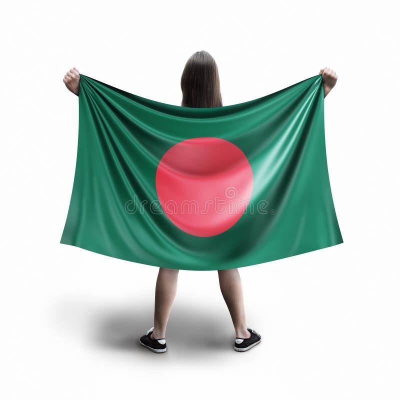 Kvinna- och Bangladesh flagga royaltyfri foto