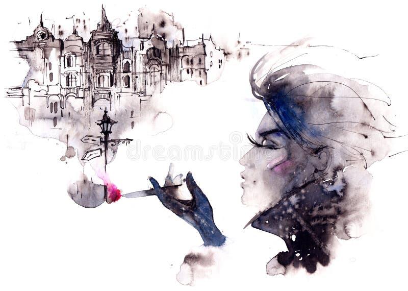 Kvinna och cigarett royaltyfri illustrationer