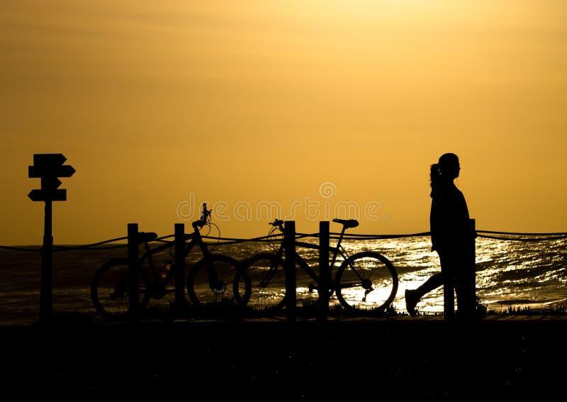 Kvinna- och cykelkontur på solnedgången royaltyfri fotografi