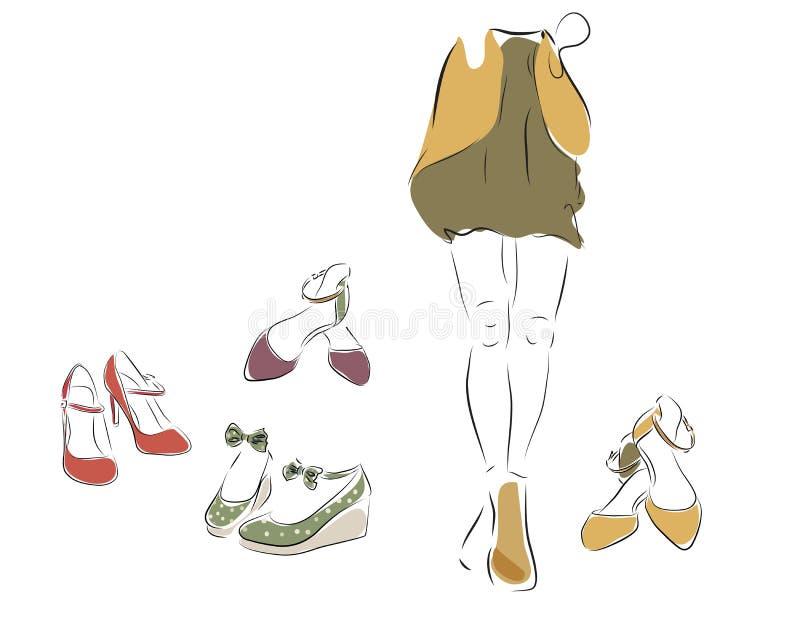 Kvinna och en samling av skor stock illustrationer