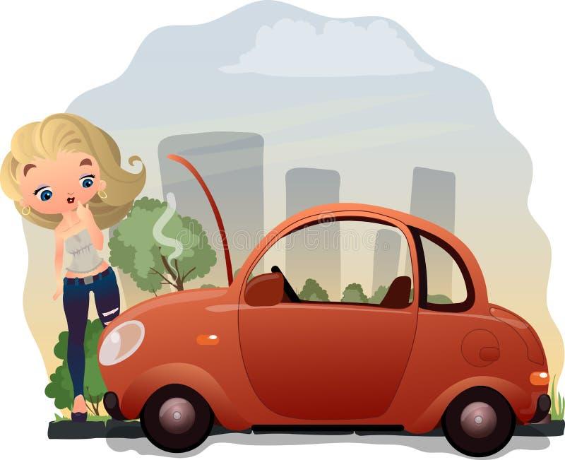 Kvinna och ett bilproblem arkivfoton
