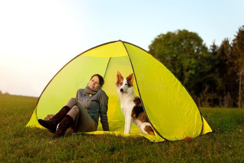 Kvinna och hennes hund som sitter i ett tält på ängen som reser med husdjuret arkivbilder