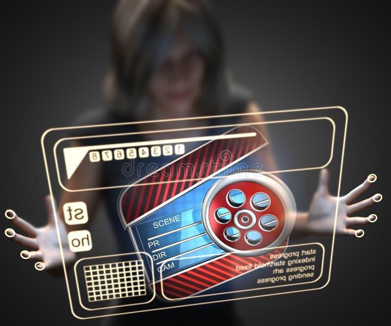 Kvinna och hologram med panelbrädan royaltyfria bilder
