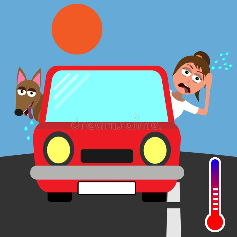 Kvinna och hund som klibbar deras huvud ut ur den röda bilen och svettas i varmt väder vektor illustrationer
