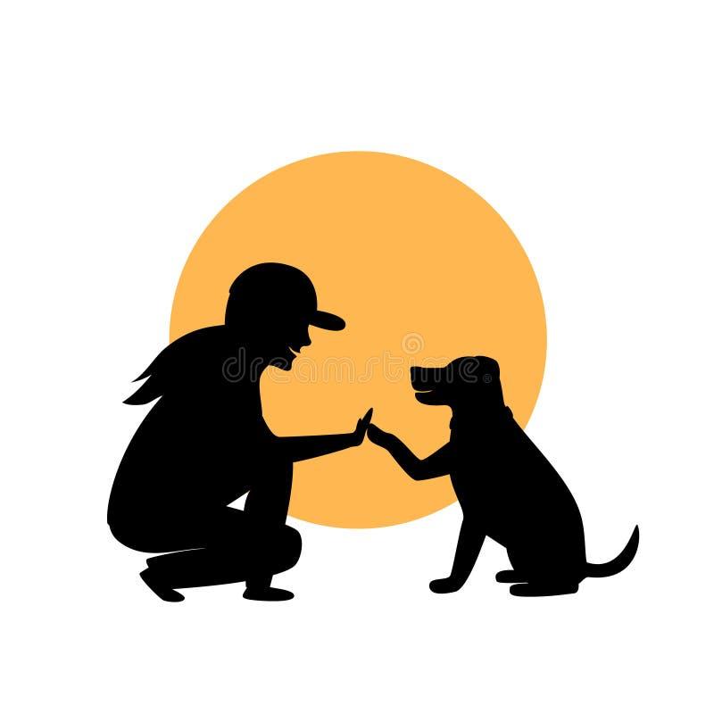 Kvinna- och hundhälsningkontur royaltyfri illustrationer