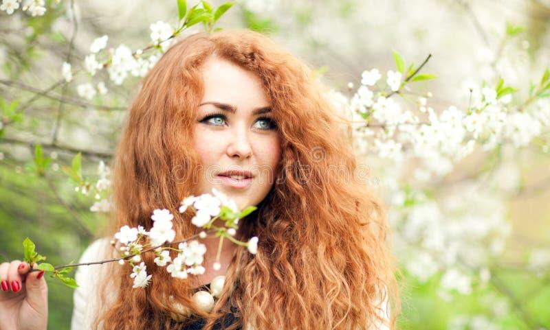 Kvinna och körsbärsröda blomningar fotografering för bildbyråer