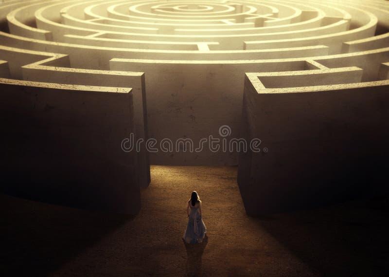 Kvinna och labyrint vektor illustrationer