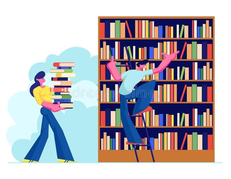 Kvinna och man i arkivläsning och sökandeböcker Ungdomar, studenter, spenderar Tid i Athenaeumrum med bokhyllan royaltyfri illustrationer