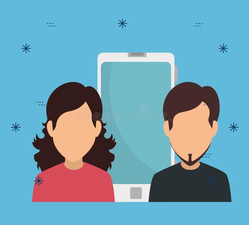 Kvinna och man med smartphonekommunikationsteknologi stock illustrationer