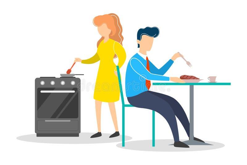 Kvinna och man på köket Matlagning för kvinnligt tecken stock illustrationer