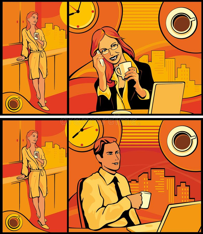 Kvinna och man som dricker kaffe i hem- kök och kontor royaltyfri illustrationer