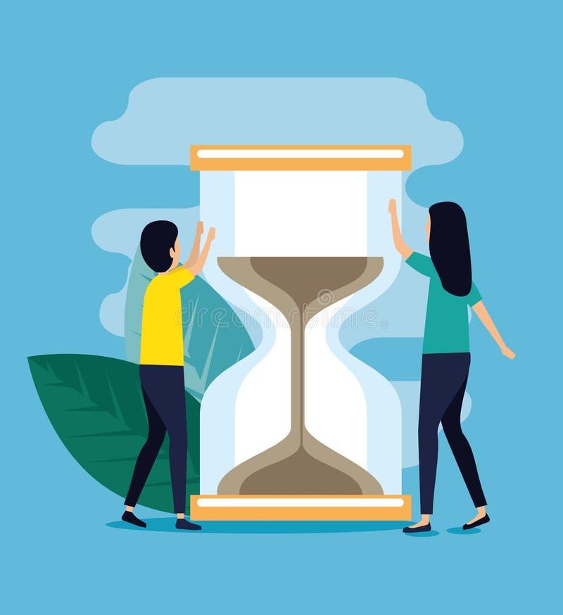 Kvinna- och manaffärsteamwork med timglas stock illustrationer