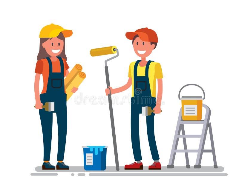 Kvinna- och manarbetare stock illustrationer
