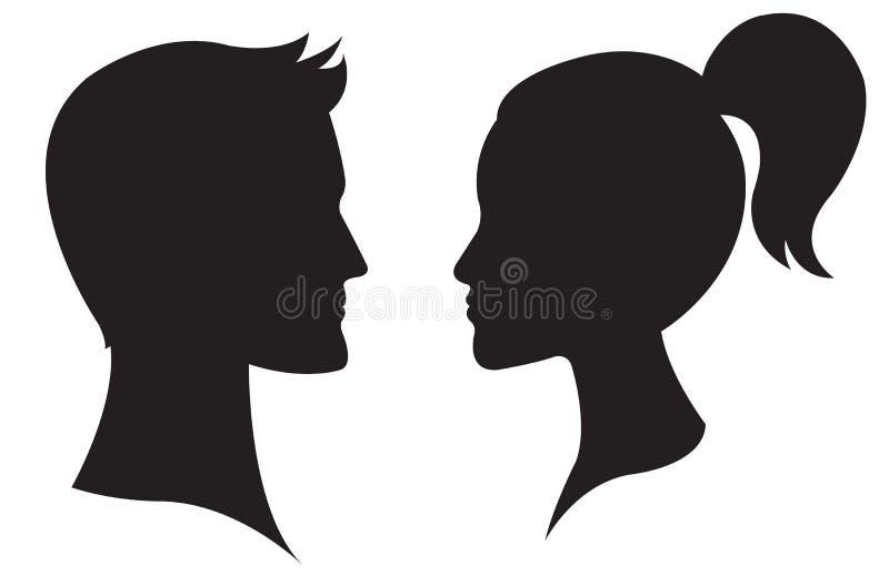 Kvinna- och manframsidaprofil stock illustrationer