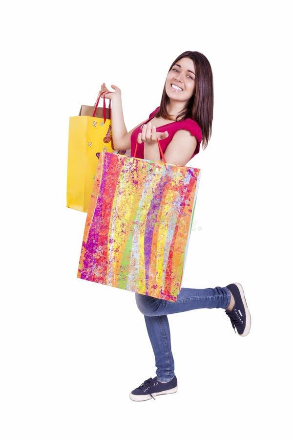Kvinna och shopping arkivfoto