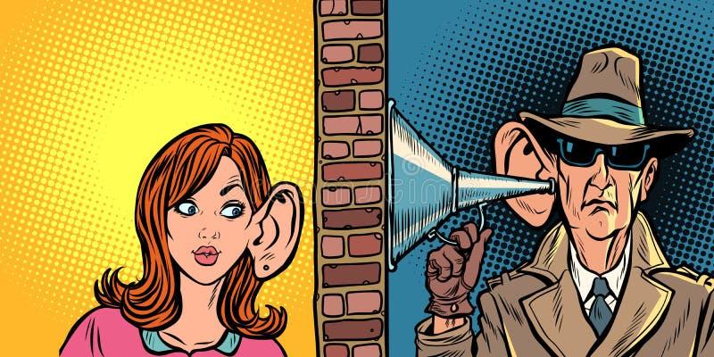 Kvinna och spion som till varandra lyssnar vektor illustrationer