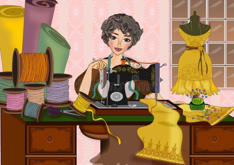 Kvinna och symaskin stock illustrationer