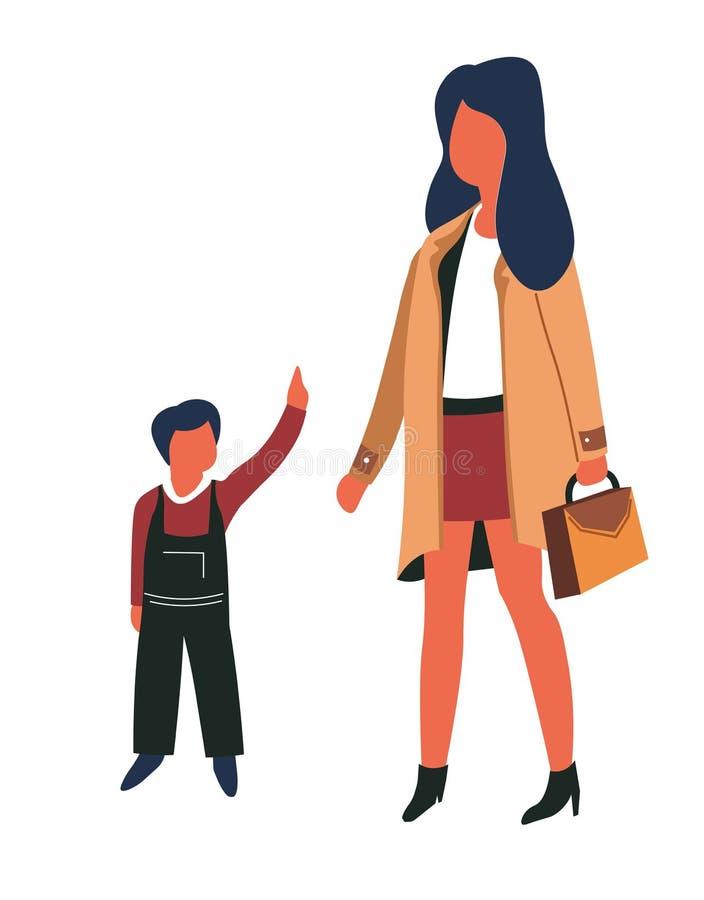 Kvinna och unge och flicka för barnmoder- och sonfamilj royaltyfri illustrationer