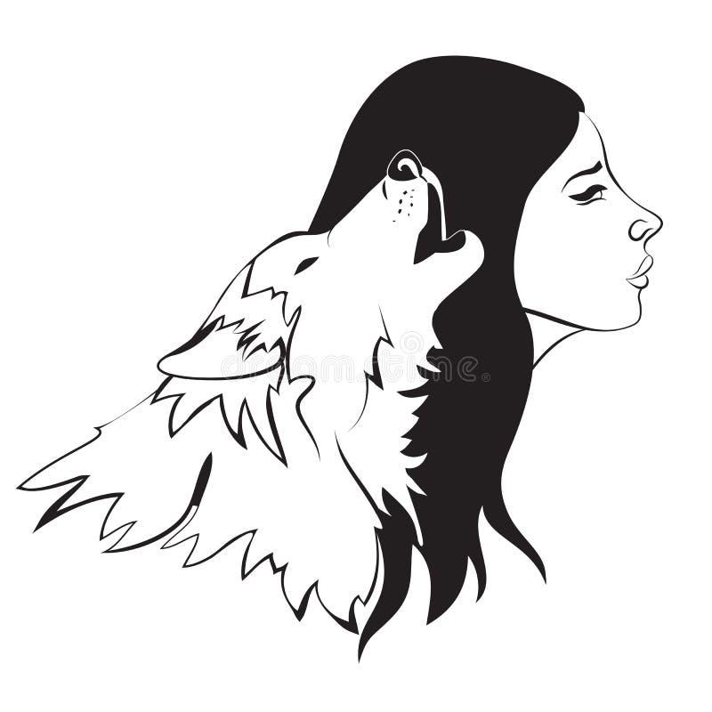 Kvinna och varg royaltyfri illustrationer