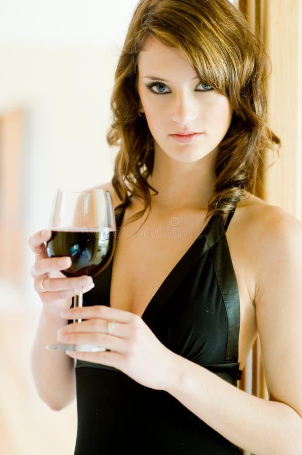 Kvinna och Wine arkivfoto