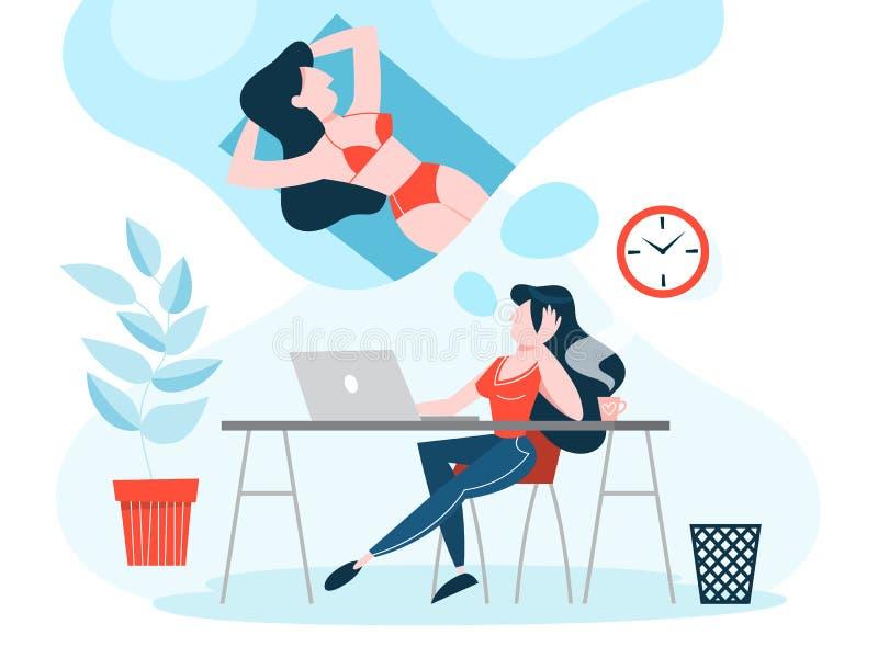 Kvinna på arbetsdrömmen om sommarsemester royaltyfri illustrationer