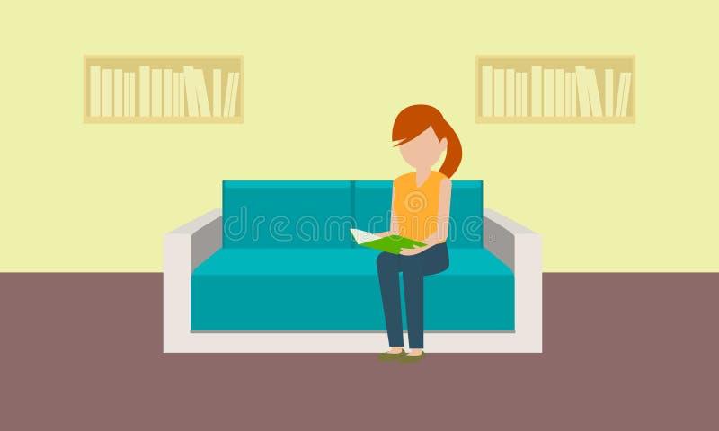 Kvinna på det klassiska soffabegreppsbanret, plan stil royaltyfri illustrationer