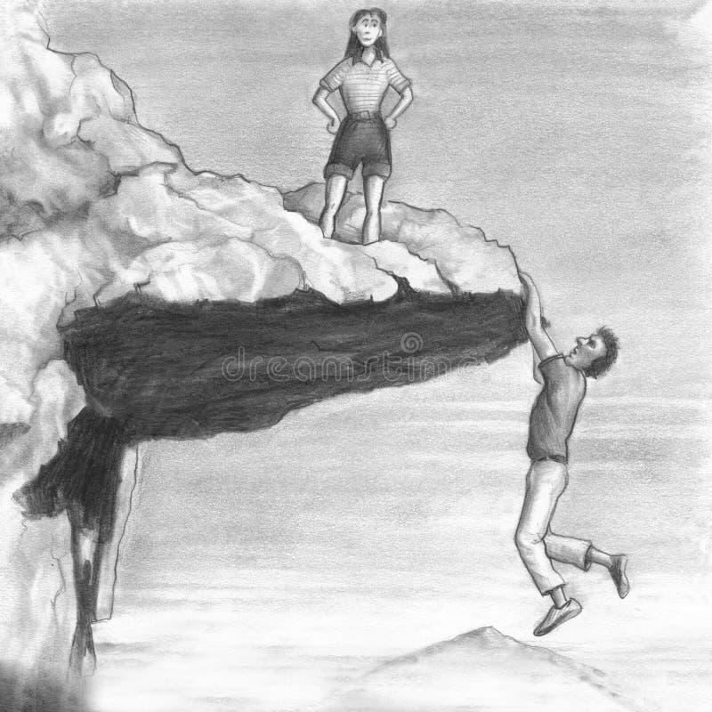 Kvinna på en klippa med en man som hänger från kanten royaltyfri illustrationer