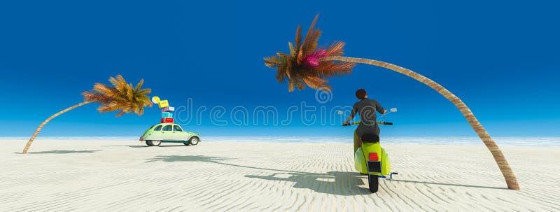kvinna på en moped och en bil stock illustrationer