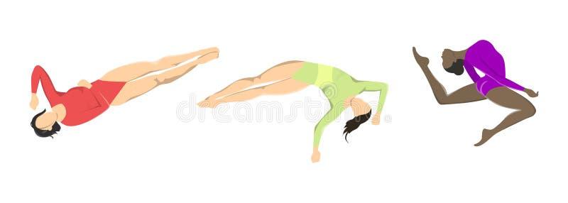 Kvinna på gymnastik royaltyfri illustrationer