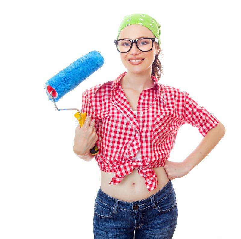 Kvinna på houseworker royaltyfri foto